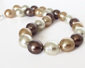 Gold Pearl Necklace, Big Pearl Necklace, Large Pearl, Faux Pearl Necklace, Chunky Pearl Necklace, Brown Necklace, Pearl Statement Necklace
