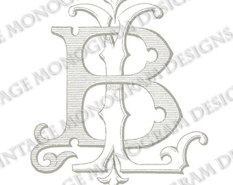 BL monogram or LB monogram - vintage monogram scanned from antique book and provided in digital format - style 1