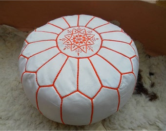 Moroccan LEATHER POUF :hand stitched / embroidered  W  Org