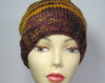 Hand-knit dark Currant-color Wool hat.