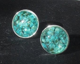 Sterling silver flower earstuds, aqua, real flower ear studs, real flower cabochons, real flowers , sterling earstuds, gift for women