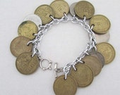 handmade coin charm bracelet with coins from mexico india 1 rupee thumbs up
