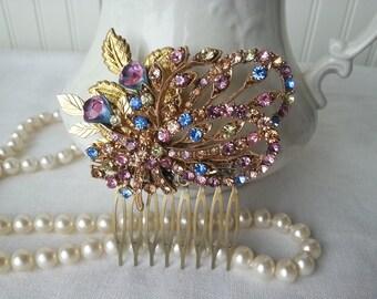 VINTAGE Hair Comb Assemblage Bride Heirloom Sparkling Elegance Victorian Chic Statement Heirloom Bride Bridal Mother Hair Accessories