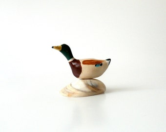 Pottery, Miniature Ceramic Wild Duck, Mallard, Tiny Ceramic Sclpture, Bird Lover's Gift, Father's Day Gift By Eyal Binyamini, StudioLind