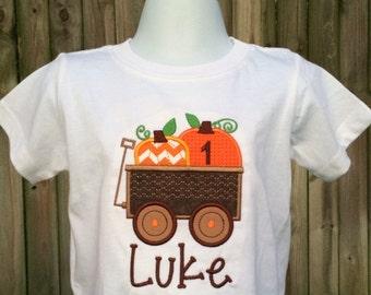 Pumpkin Wagon Halloween Shirt - Boys Halloween Shirt - Pumpkin Shirt - Boy Pumpkin - Wagon - Boys Fall Shirt - Fall Birthday