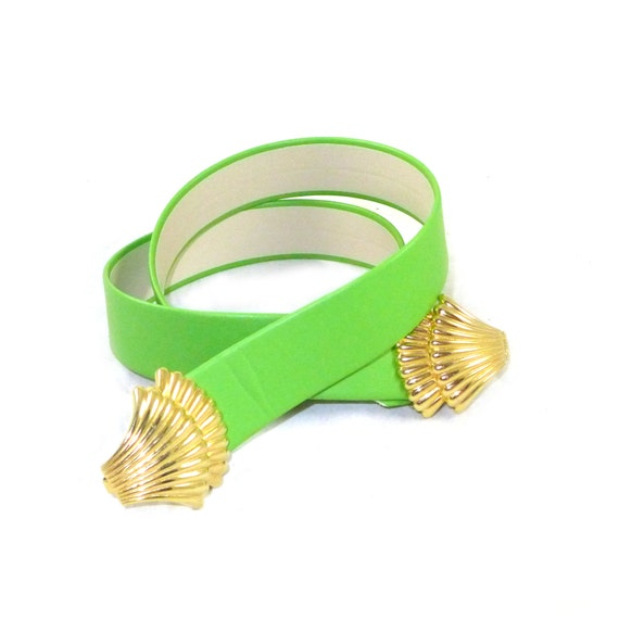 wide lime green leather belt shells nautical by