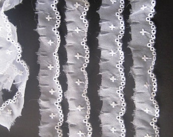 Embroidered Sheer Cross Lace, White, 1 inch wide, 1 yard, For Dolls, Scrapbook, Decor, Apparel, Accessories, Victorian & Romantic Crafts