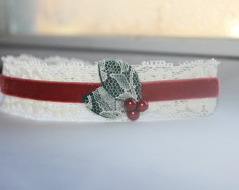 Limited Edition Holly Lace Red, Green and Ivory Baby Flower Headband, Newborn Headband, Baby Girl Flower Headband, Photography Prop