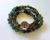 Tree of Life - Genuine Moss Agate Leather Wrap Bracelet