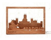 postcard wood - Madrid, three-card-set