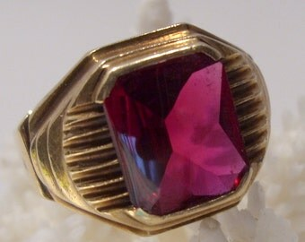 Art Deco 10K Gold Ring With Synthetic Ruby Size 10