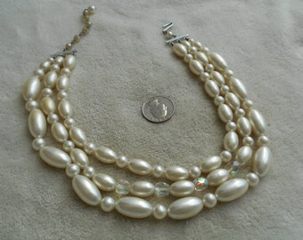 Vintage Necklace-3 Strand Faux Pearl Beaded With Glass Crystal Accents-JAPAN-N1549