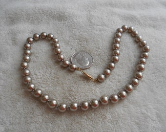 Vintage Necklace-Champagne Grey Faux Pearl Beaded-N1465