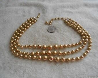 Vintage Necklace-3 Strand Goldtoned Faux Pearl Beaded-JAPAN-N1469