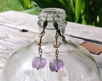 Fly Away! Purple & Brass Earrings