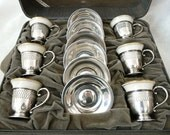 RESERVED Vintage LENOX Demitasse Cups with Sterling Silver Filigree Holders and Saucers in Original Box - Set of 6