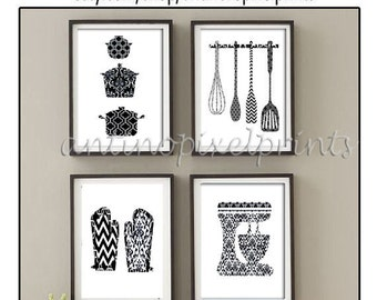 Damask Kitchen Tools Black White Art Collection  -Set of (4) - 5x7 Prints (Unframed)
