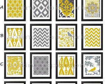 Yellow Grey Wall Art Prints -Pick Any (4) Any Color - 8x10 Prints -  Dark Yellow Greys White  (UNFRAMED)