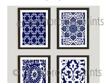 Navy White Ikat Damask Pictures (4) - 8x10 Prints - Custom Colors Sizes Available (UNFRAMED) #224203518