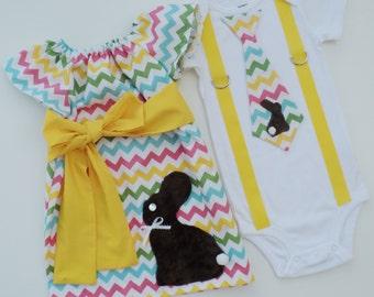 Easter Chocolate Minky Bunny Chevron Peasant and T Shirt w Suspenders, Bro Sis Set