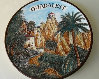 Ceramor Spain Hand Painted Wall Decor, Guadalest ceramic wall hanging, wall plate, Spanish souvenir wall art, ready to hang scenic village