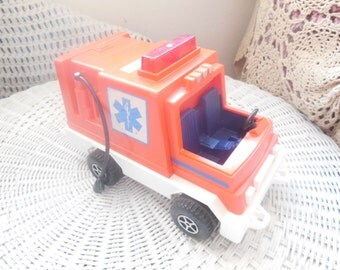 Fisher Price Rescue Truck  1982  No 337 Husky Rescue Rig,Vintage Toys,Vintage Toy Cars,