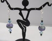 Lavender and Green Lampwork and Crystal Earrings on Silver Lever back Ear wires