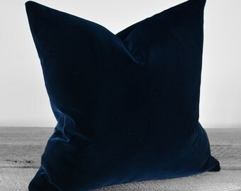 Pillow Cover - Belgium Cotton Velvet Fabric  - Midnight Navy - SAME FABRIC both sides - Pick Your Pillow Size