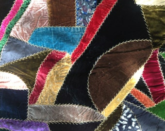 Victorian Crazy Quilt Velvet Hand Sewn and Embroidered c 1900s