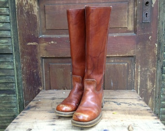 Rust Brown Leather Boots, Knee High Campus Boots Size 7.5 US