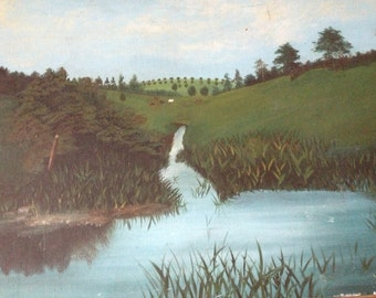 Countryside Landscape Oil Painting, Artist Signed, Turquoise Blue Green