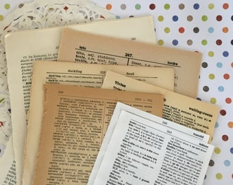 50 Language Dictionary Pages / Vintage Mixed Languages Ephemera Pages for Collage, Altered Art, Smash Journals, Mixed Media, etc.