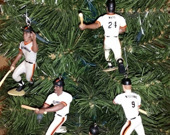 Will Clark, Willie Mays, McCovey, Matt Williams, Kevin MItchell, Robbie Thompson San Francisco Giants baseball christmas sports ornament