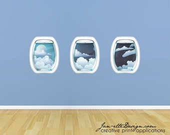 Kids Wall Decals, Airplane Window Wall Sticker, Airplane Wall Decals, Sky Wall Decals
