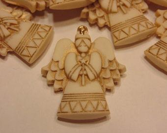 5 large acrylic angel charms, 30 x 22 mm (B10)