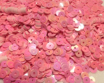bag of vintage florescent pink sequins, 4 mm (14)