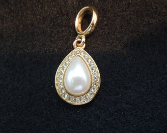Vintage Napier Pendant.  Gold Tone, Tear Drop Faux Pearl Surrounded by Rhinestones.  Signed.