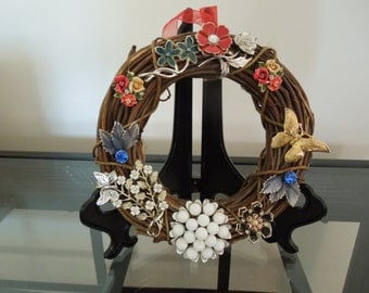 Jewelry Art, Christmas Wreath Made With Vintage Jewelry, Diameter is 6 Inches.