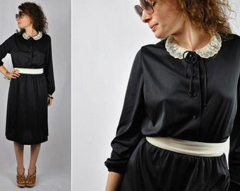 70s Black Dress with LACE Peter Pan Collar by Jerrie Lurie Day Dress Garden Secretary Dress size S - M