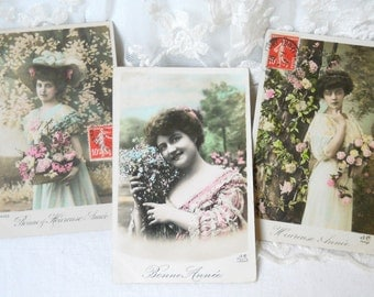 set of 3 happy new year antique French postcards, vintage postcards, photograph postcards, handtinted, bonne annee, heureuse annee