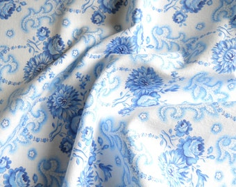 vintage french fabric patchwork fabric blue floral fabric blue flowers french fabric blue roses fabric 152