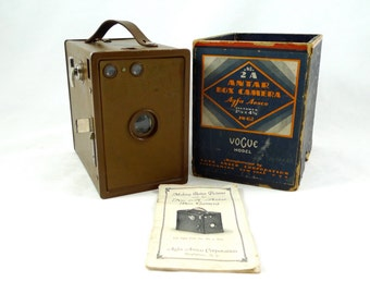 Agfa Ansco Vogue Model 2A Antar Box Camera with Original Box & Manual Art Deco