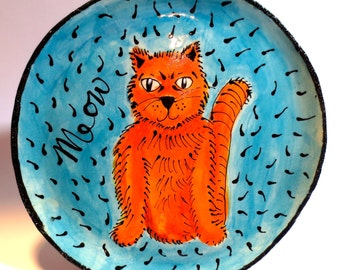 Orange Tabby Cat Plate with Blue Background
