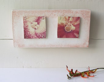 Red Flowers.   Polaroid Transfers Printed on Hand-Built Fired Ceramic Clay Canvas Assemblage.  Macro Red Flowers.