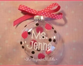 Teacher Gift w/ Gift Box - Glass Ornament - Custom - Personalized