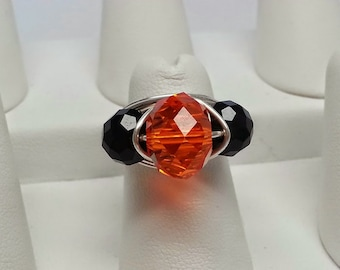 Handmade Silver Plated Wire Wrapped Swarovski Crystal Ring - Orange, Black, Halloween, Fall, Holiday