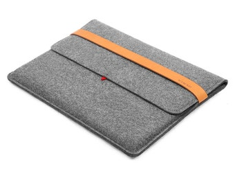 "15''Macbook Case Wool Felt Tablet Sleeve Laptop Case with Italian Thick Leather Strap for Macbook 15"" Retina Laptop Sleeve Macbook Cover"