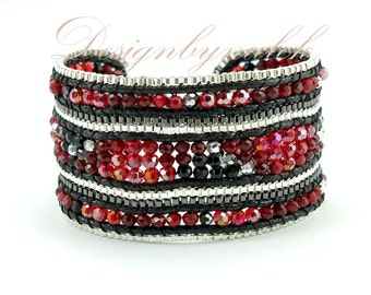 Red crystal beads wrap bracelet
