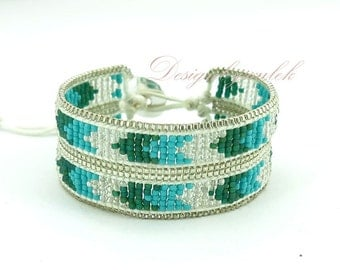White and blue japan seed beads wrap bracelet.