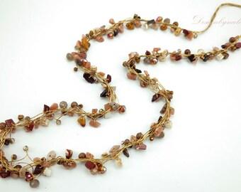 Carnelian,jasper,crystal long necklace.
